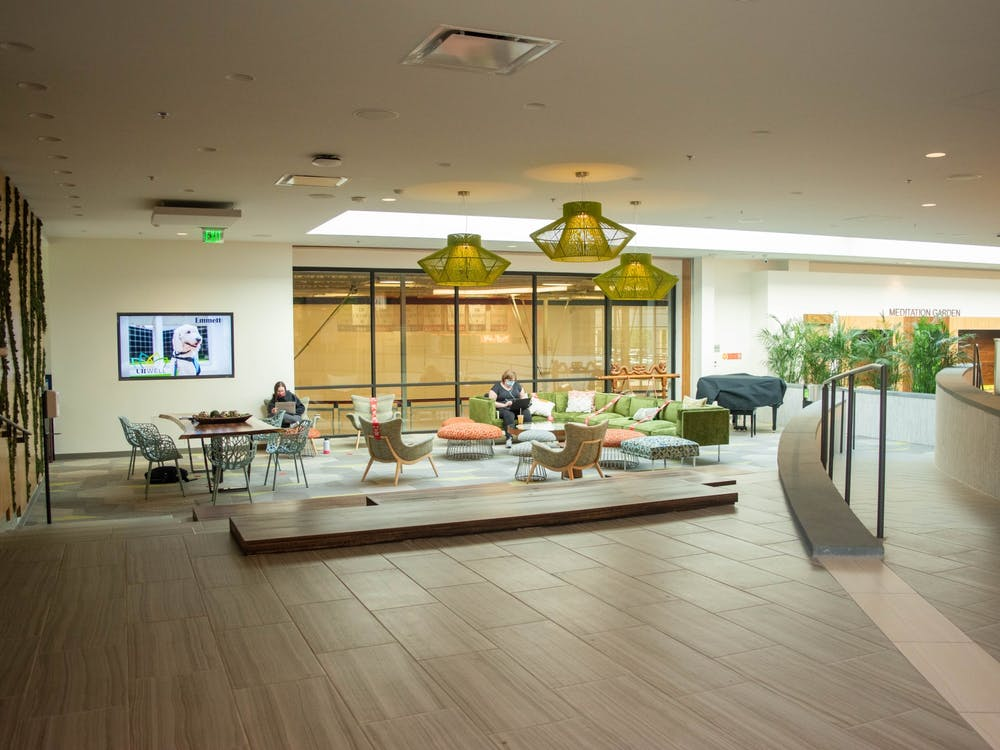 A lounge in the Well-Being Center.