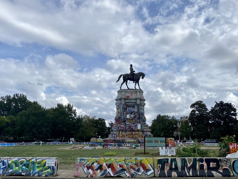 A statue of Confederate Gen. Robert E. Lee is located on Monument Avenue, as of Sept. 8, covered with graffiti.