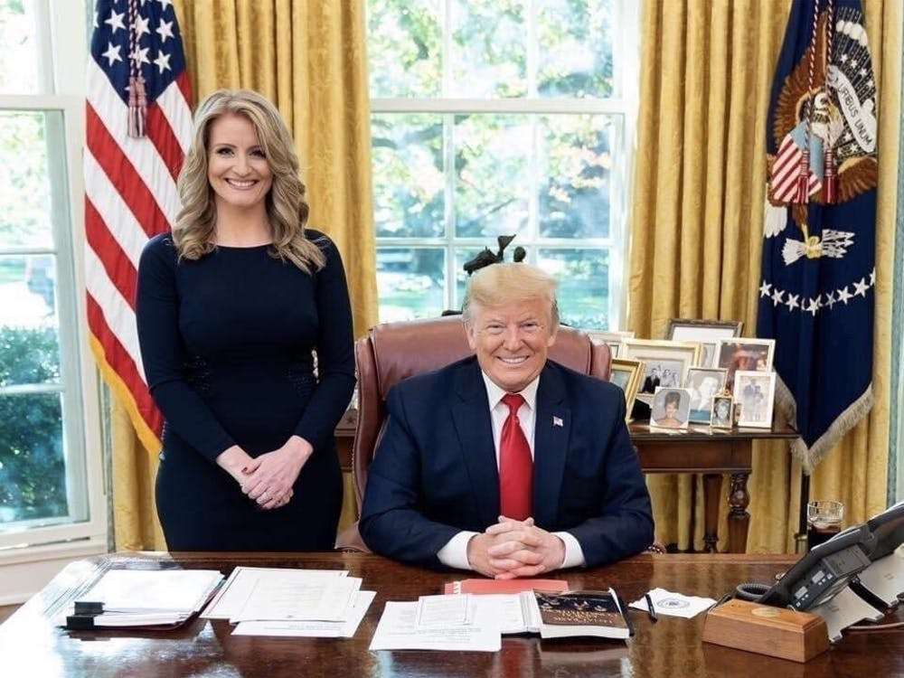 Jennis Ellis and former president Donald Trump in the White House Oval Office. Courtesy of Jenna Ellis's Twitter