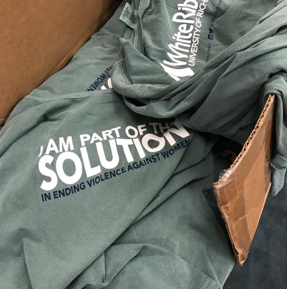 "<p>Part of the campaign's strategy is to distribute the t-shirts pictured above in order to promote dialogue, Richmond College Dean Joe Boehman said. <em>Photo courtesy of the White Ribbon Campaign at UR's </em><a href=""https://www.instagram.com/whiteribbonurva/"" target=""_blank""><em>Instagram page</em></a><em>.</em></p>"