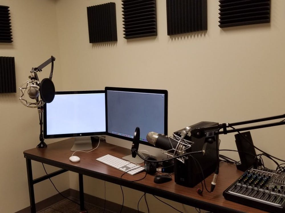 Recording equipment in the Technology Learning Center on the third floor of Boatwright Memorial library, where Lucretia McCulley records interviews for Podcasts@Boatwright.