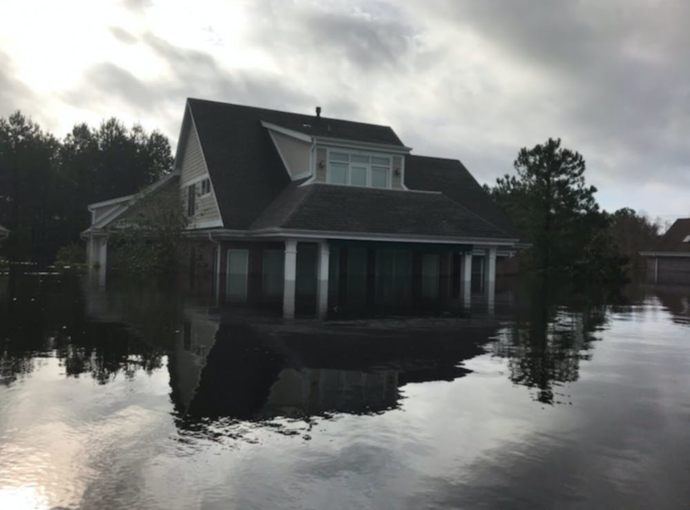 <p>The home of a relative of senior Colby Alvino flooded in Wilmington, North Carolina during Hurricane Florence. <em>Photo courtesy of Colby Alvino.</em></p>