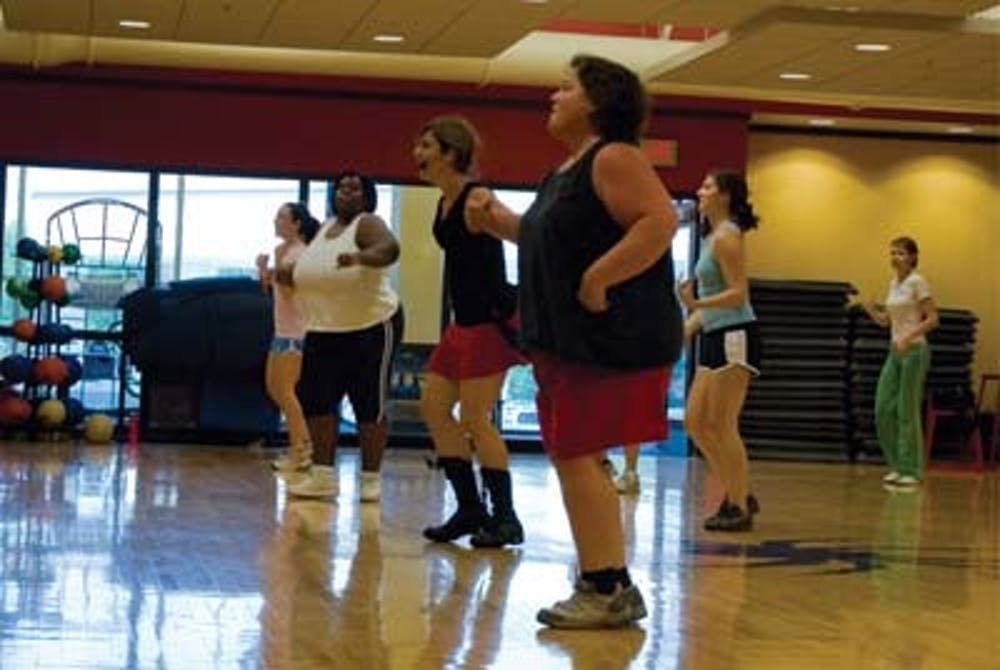 Led by Jackie Pfamatter (headset/mic), students and faculty burn carbs and dance to salsa music Zumba on Tuesday Sept 23rd at 12:00pm in the Fitness Center.