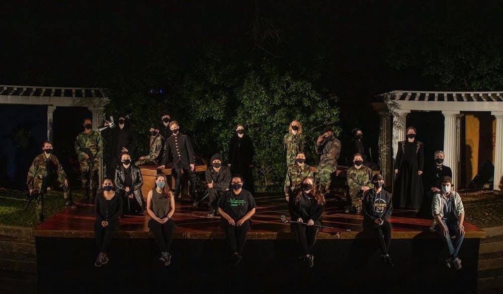 <p>The cast of Richard III on its stage at the Jenkins Greek theater. <em>Courtesy of</em> <em>Mitzi Avila</em></p>