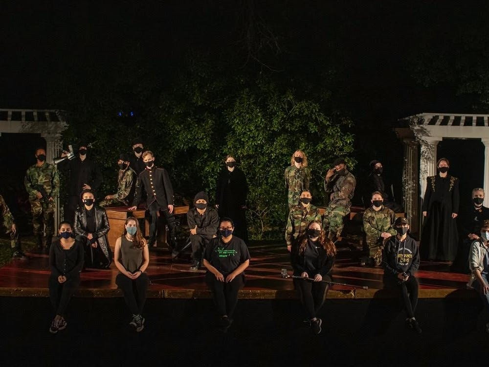 The cast of Richard III on its stage at the Jenkins Greek theater. Courtesy of Mitzi Avila