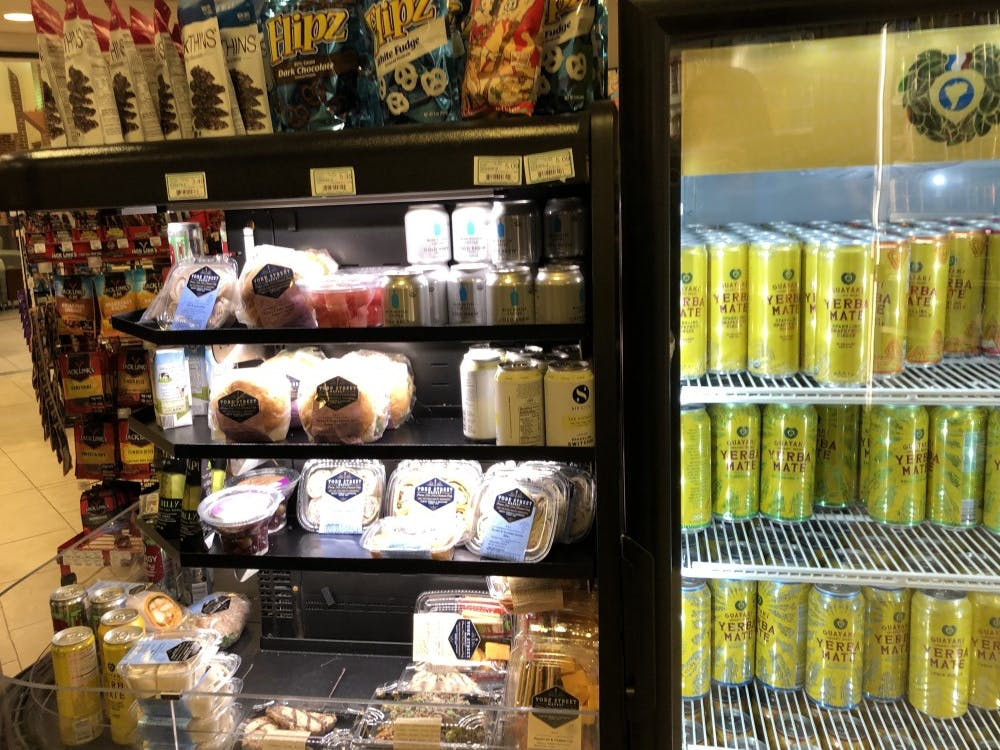 The grab-and-go refrigerator at ETC, which is typically stocked with sushi products.