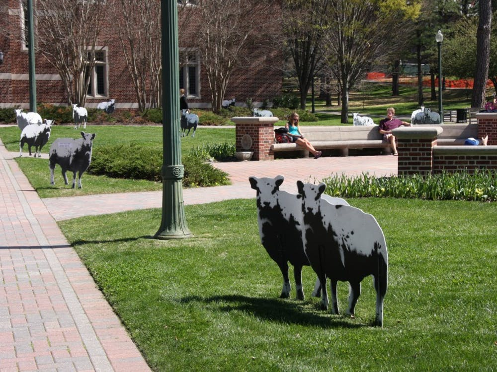 Sheep set up in Jepson Quad
