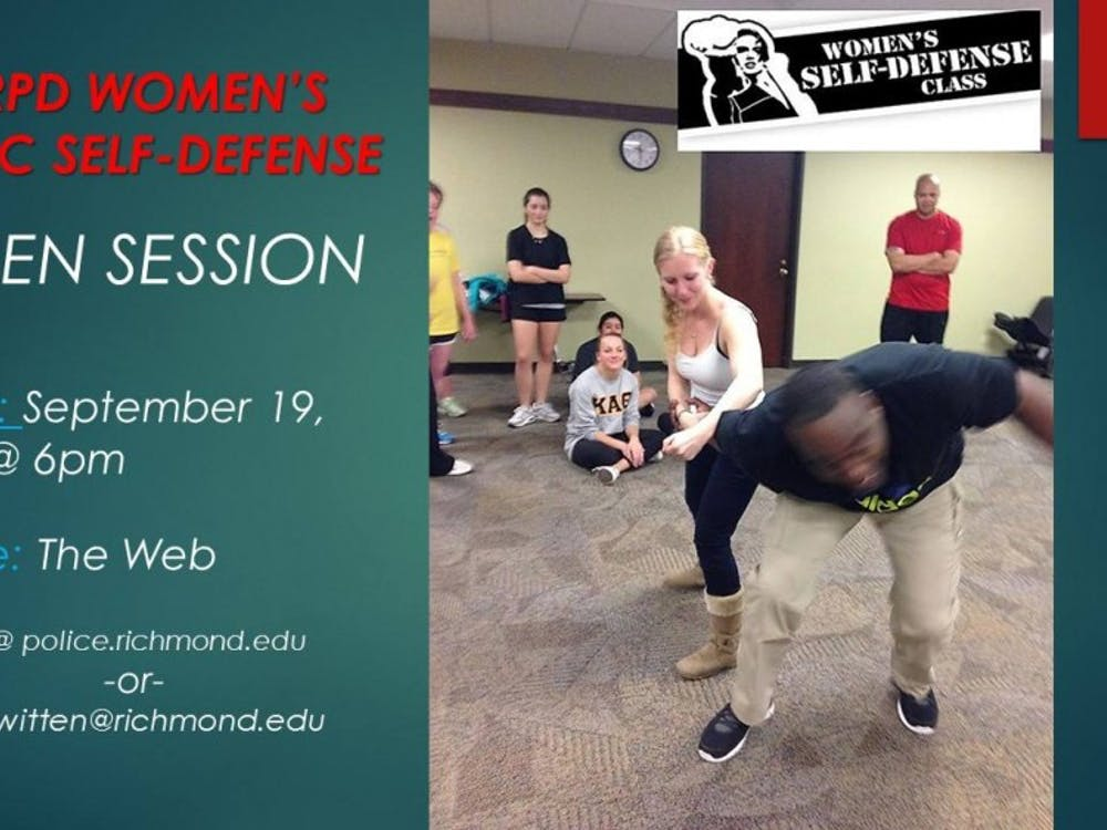 An advertisement for theWomen's Basic Self-Defense class. Photo courtesy of University of Richmond Department of Public Safety's Facebook page.