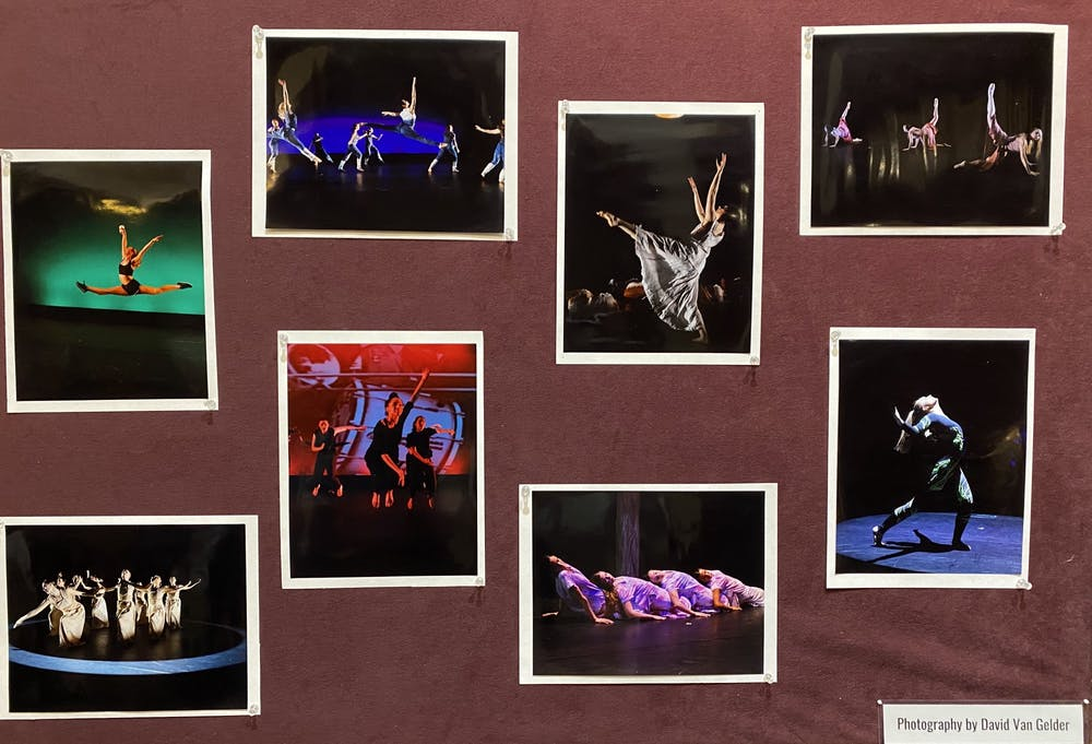 <p>Stills from the University Dancers' 35th Annual Concert are displayed outside the theater. The performance opened on Friday, Feb. 28, to a sold-out crowd in Modlin Center's Alice Jepson Theater.&nbsp;</p>