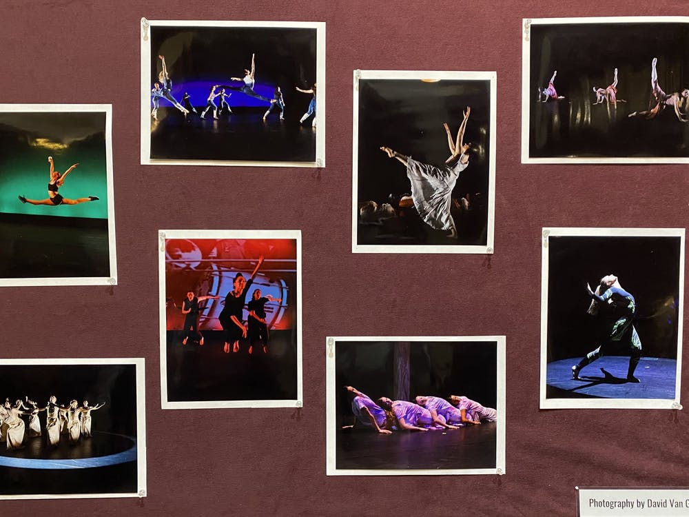 Stills from the University Dancers' 35th Annual Concert are displayed outside the theater. The performance opened on Friday, Feb. 28, to a sold-out crowd in Modlin Center's Alice Jepson Theater.