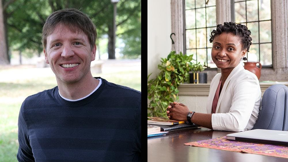 <p>Jory Brinkerhoff (left) and Manuella Meyer were awarded Fulbright Scholar grants for their&nbsp;research proposals. <em>Image courtesy of Sunny Lim</em></p>