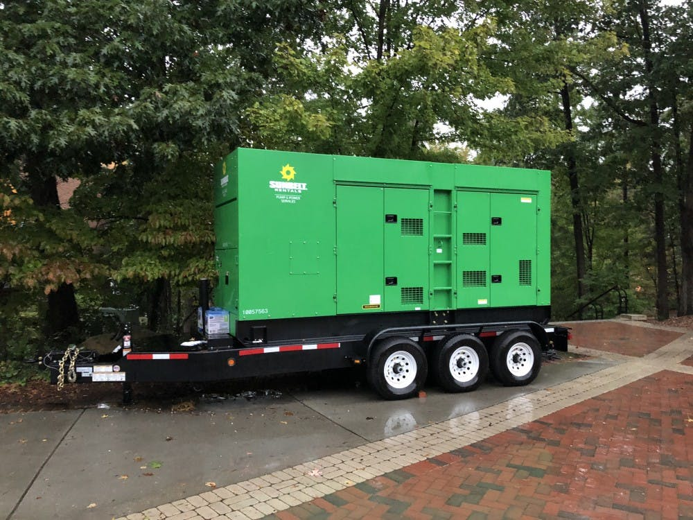 A backup generator has been placed outside the Heilman Dining Center on Thursday afternoon.