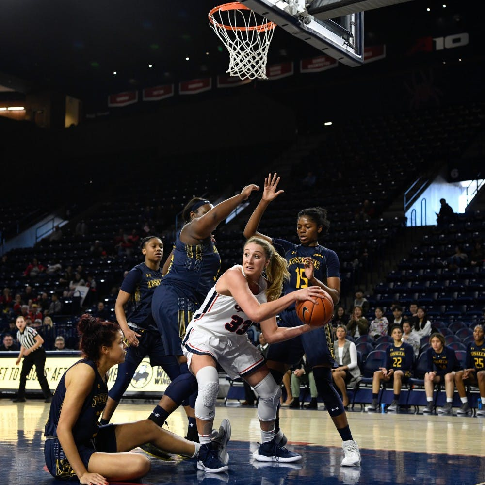 <p>Junior Amy Duggan during Sunday's win over La Salle, 56-51.&nbsp;</p>