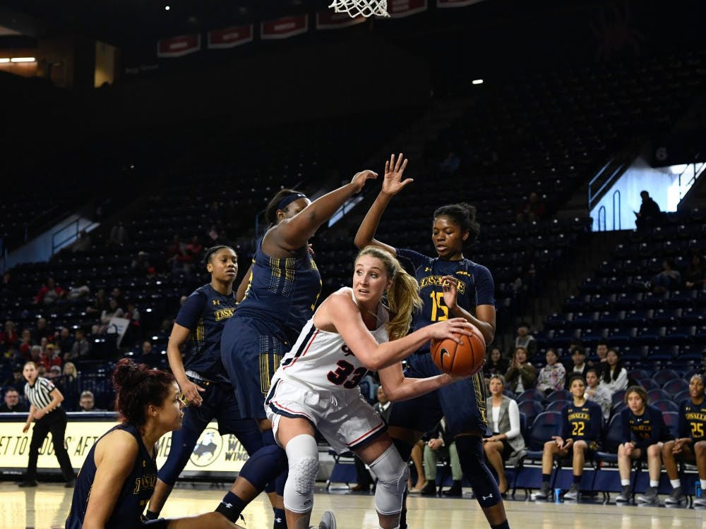 Junior Amy Duggan during Sunday's win over La Salle, 56-51.