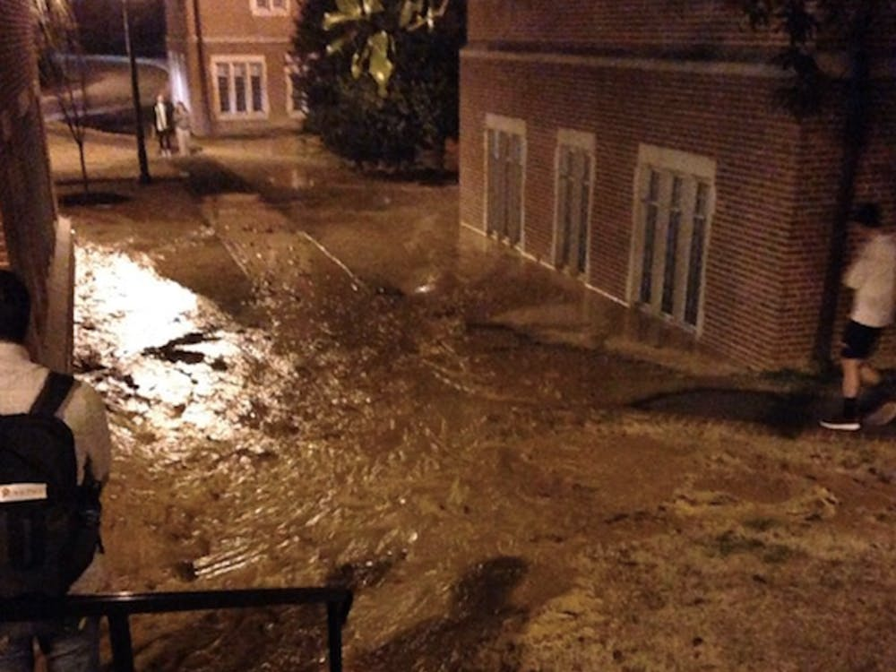 A broken water line caused minor flooding between Westhampton Hall and South Court Monday night.