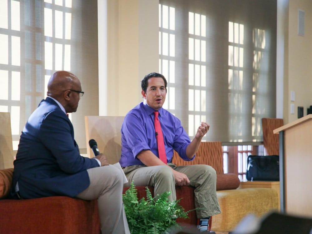 Alexander Heffner speaks with President Ronald A. Crutcher at the Open Dialogue at UR event.