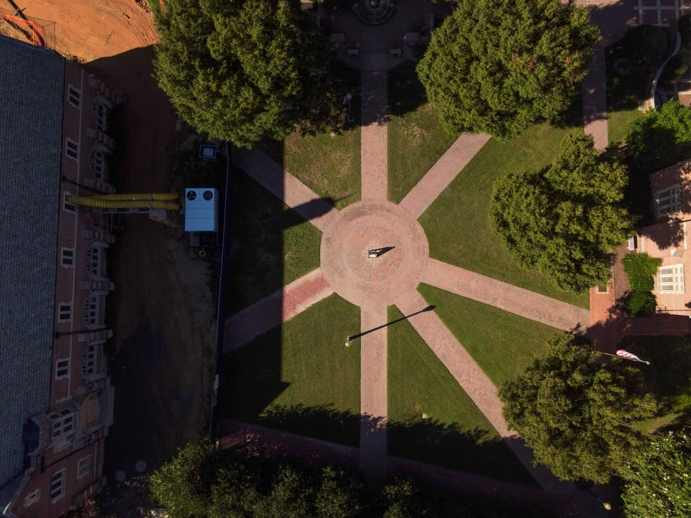 <p>Stern Quadrangle (pictured) is located at the center of most UR academic buildings.</p>