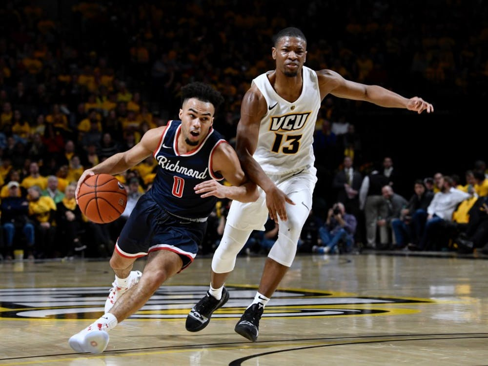 Junior guard Jacob Gilyard during Wednesday's loss to rival VCU at the Siegel Center. The game took place on Feb. 13, 2019.