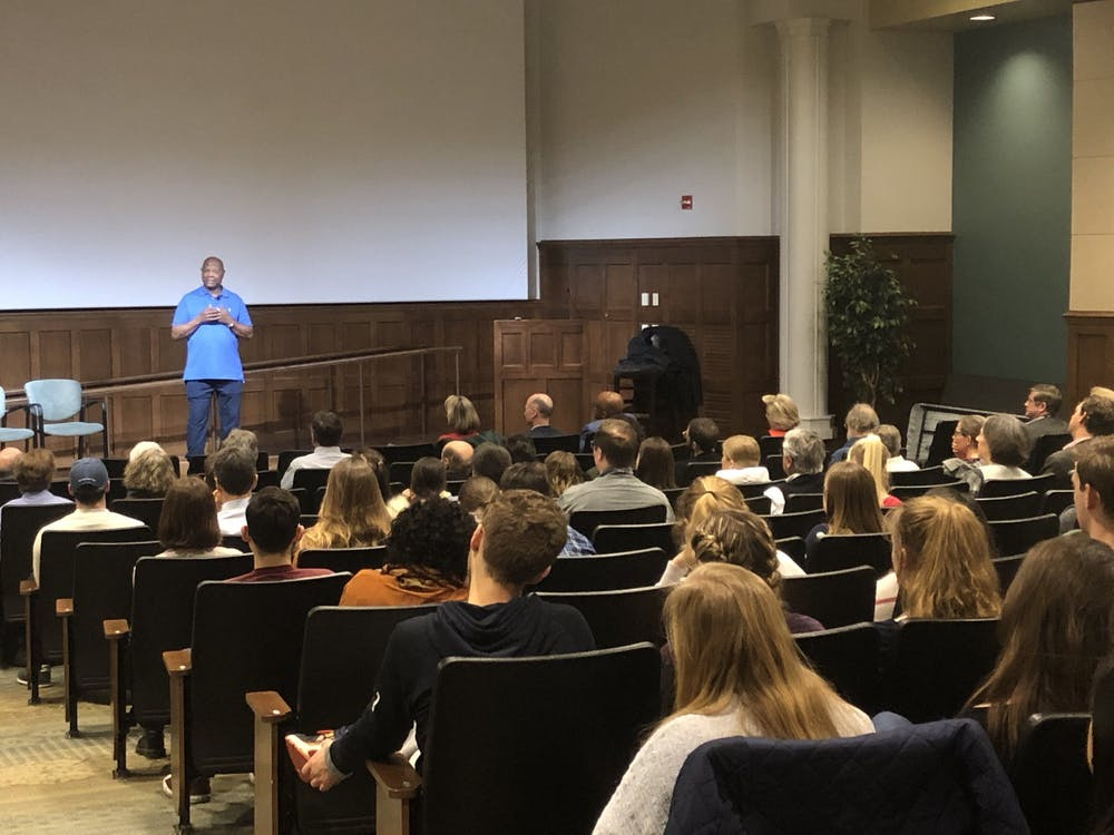 <p>George Mumford speaks to a crowd in Ukrop Auditorium on Monday, Jan. 27, 2020. Mumford spoke on the powers of mindfulness and self-compassion.</p>