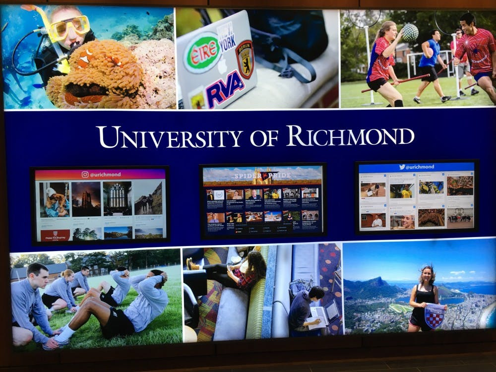 Signage in the Queally Center displaying photos of Richmond students during their time abroad.