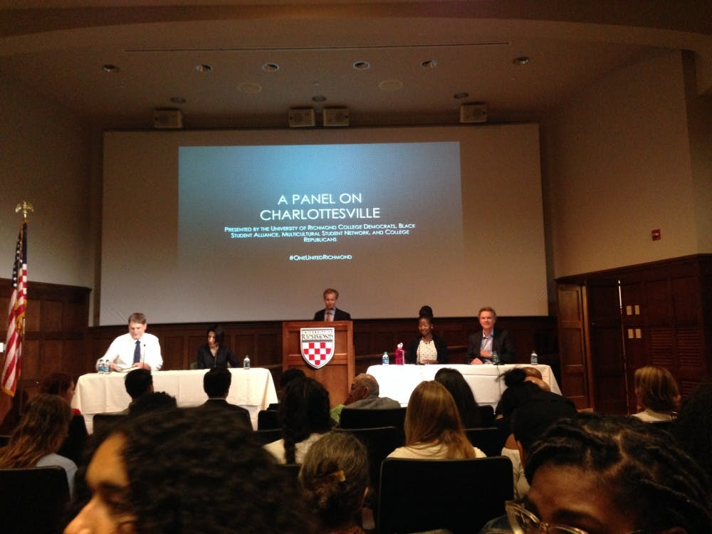 Several University of Richmond faculty members speak at a panel discussion on the recent violence occurring in Charlottesville, Virginia.