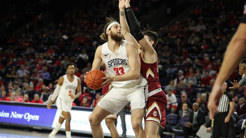 <p>Redshirt junior forward Grant Golden lines up a shot during the game against College of Charleston on Saturday, Dec. 14, 2019. <em>Image via the Richmond Spiders website</em></p>