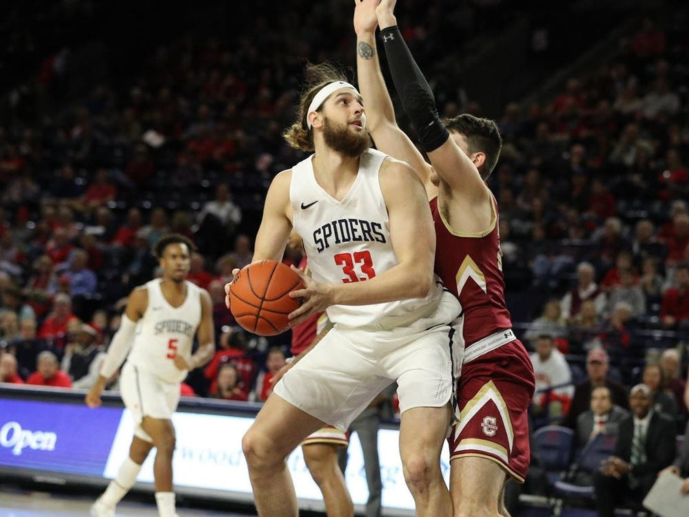Redshirt junior forward Grant Golden lines up a shot during the game against College of Charleston on Saturday, Dec. 14, 2019. Image via the Richmond Spiders website