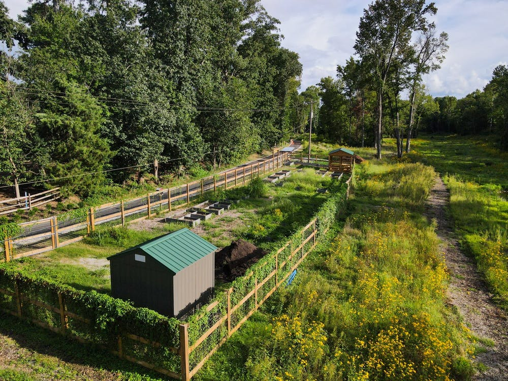 The community garden is located in the Eco-Corridor