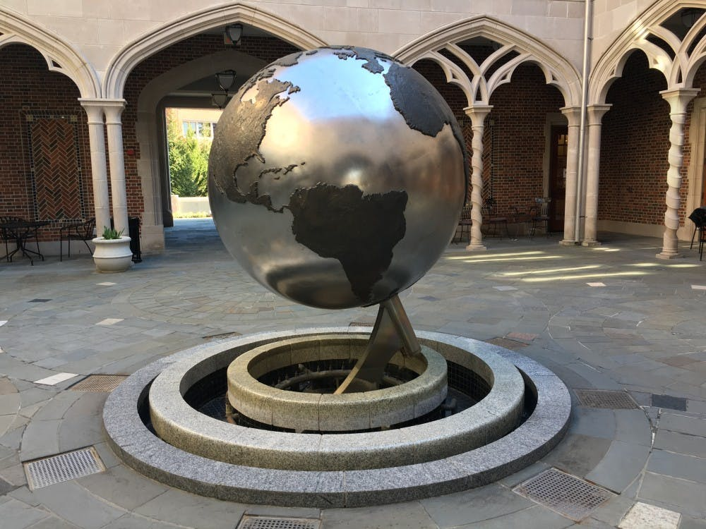 <p>The courtyard of the Carole Weinstein International Center, which houses the Office of International Education.</p>