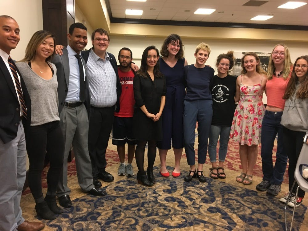 """The cast of """"The Haze,"""" an award-winning play about sexualassault. The castperformed for students as part ofthe Week of Action."""