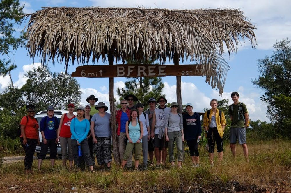 <p>The group of students and professors stayed at the&nbsp;Belize Foundation for Research and Environmental Education (BFREE), which is located&nbsp;in the middle of a large area of preserved rainforests in Belize.</p>