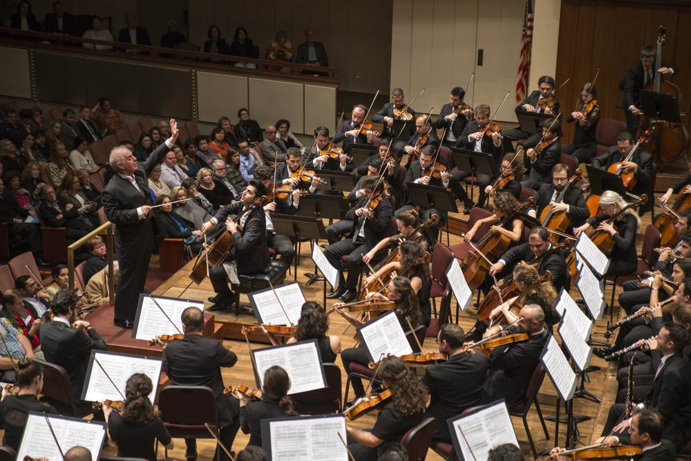 <p>The West-Eastern Divan Orchestra plays at at a Washington D.C. concert hall during its tour of the United States. <em>Photo courtesy of Manuel Vaca for the West-Eastern Divan Orchestra 2018 U.S. tour press kit.</em></p>