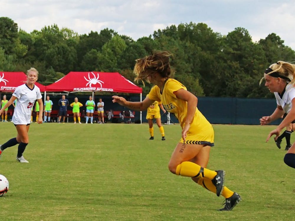 The Spiders play strong defense during their game against La Salle University on Thursday, Sept. 26, 2019.