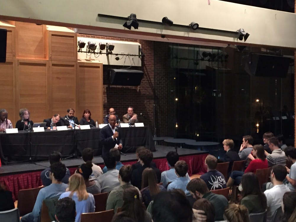<p>Crutcher addresses more than&nbsp;200 university community members about the election.</p>