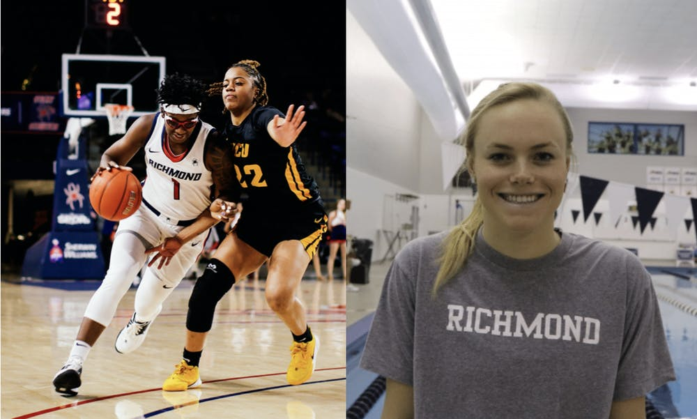 <p>Women's basketball's Jaide Hinds-Clarke (left) and swim and diver's Hannah Gouger (right) are up for the NCAA's women of the year award. <em>Photos courtesy of Jimmy Quinn and Ben Wasserstein</em></p>
