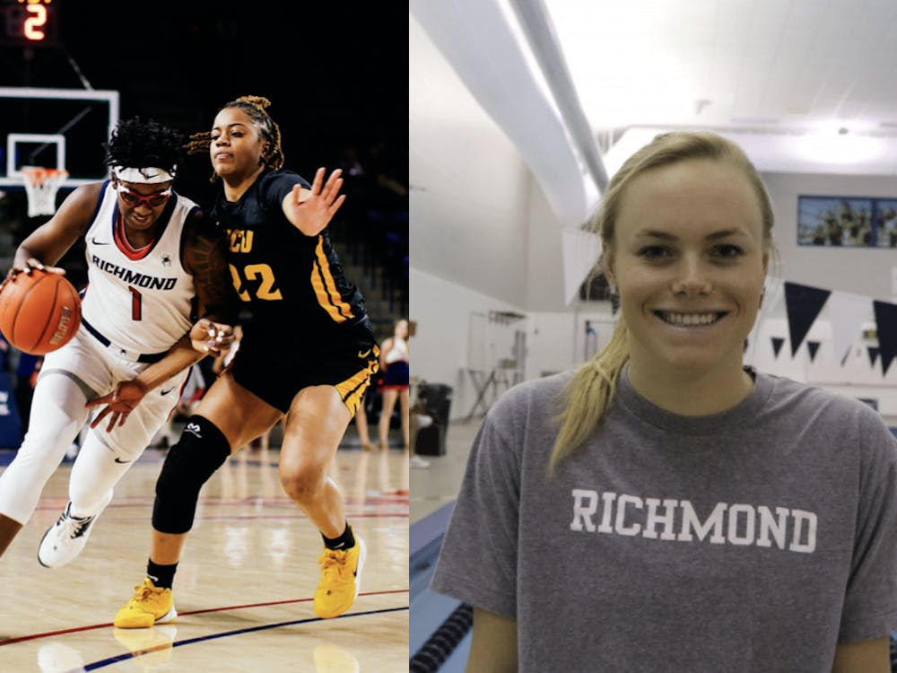 Women's basketball's Jaide Hinds-Clarke (left) and swim and diver's Hannah Gouger (right) are up for the NCAA's women of the year award. Photos courtesy of Jimmy Quinn and Ben Wasserstein