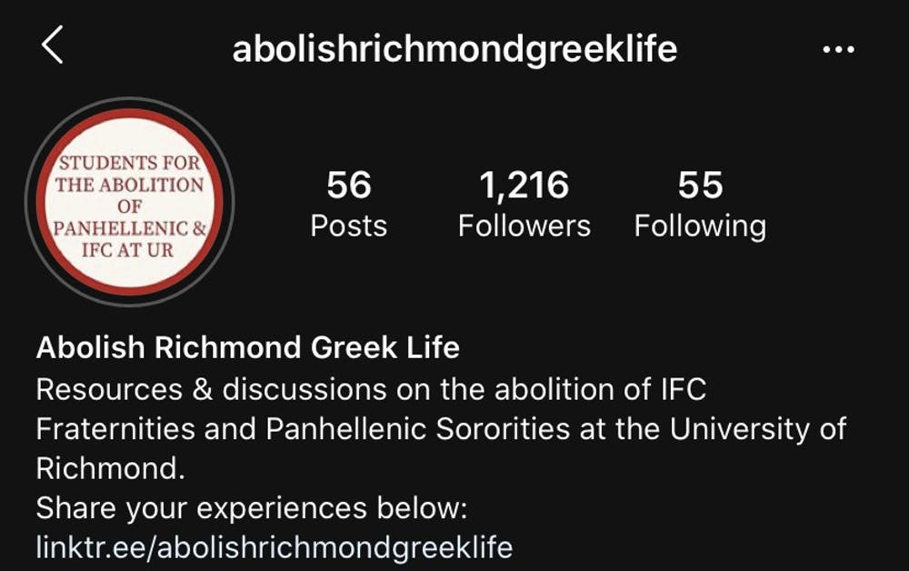 <p>Screenshot of the account, @abolishrichmondgreeklife, on Instagram.</p>