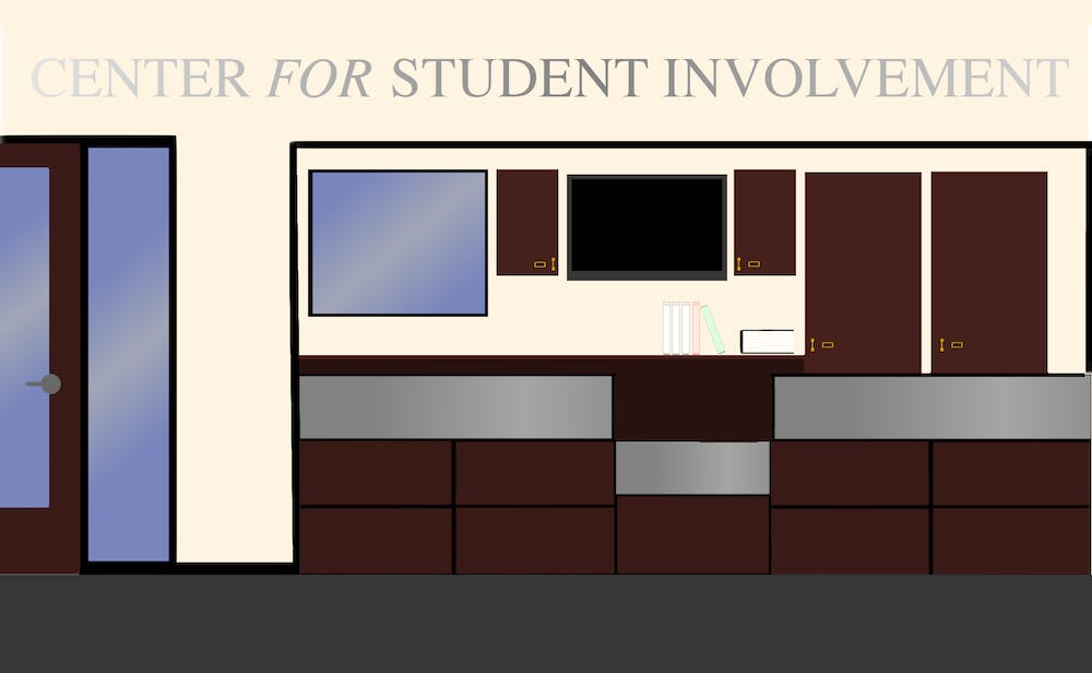 <p>Graphic of the University of Richmond's Center for Student Involvement by Nolan Sykes</p>