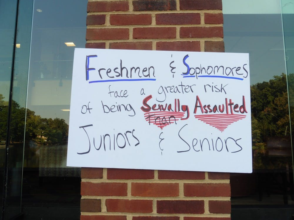 Some of SASA's messages, such as this one, were displayed on the outside of Tyler Haynes Commons.