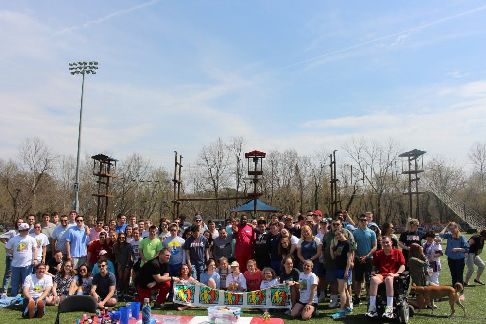 <p>University of Richmond students and buddies pose for a group photo during the Best Buddies Games. <em>Photo courtesy of Avery Maley</em></p>