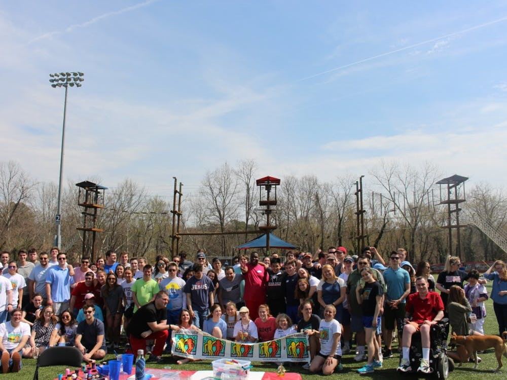 University of Richmond students and buddies pose for a group photo during the Best Buddies Games. Photo courtesy of Avery Maley
