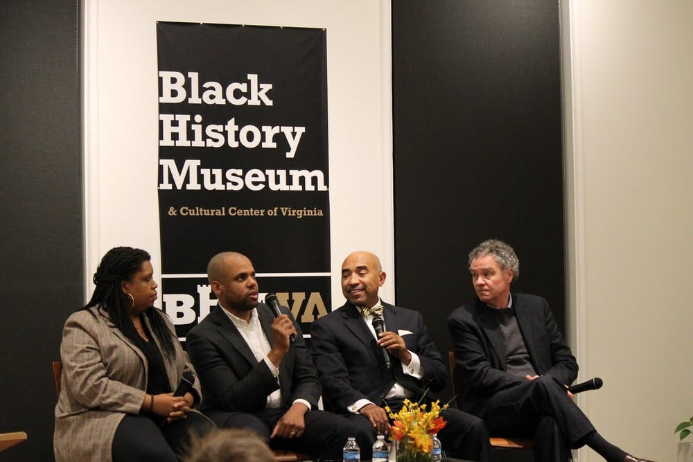"""<p>Edward Ayers (far right) speaks at a screening of """"The Future of America's Past"""" at the Black History Museum and Cultural Center of Virginia in Richmond, Virginia, on Nov. 20, 2019.&nbsp;</p>"""