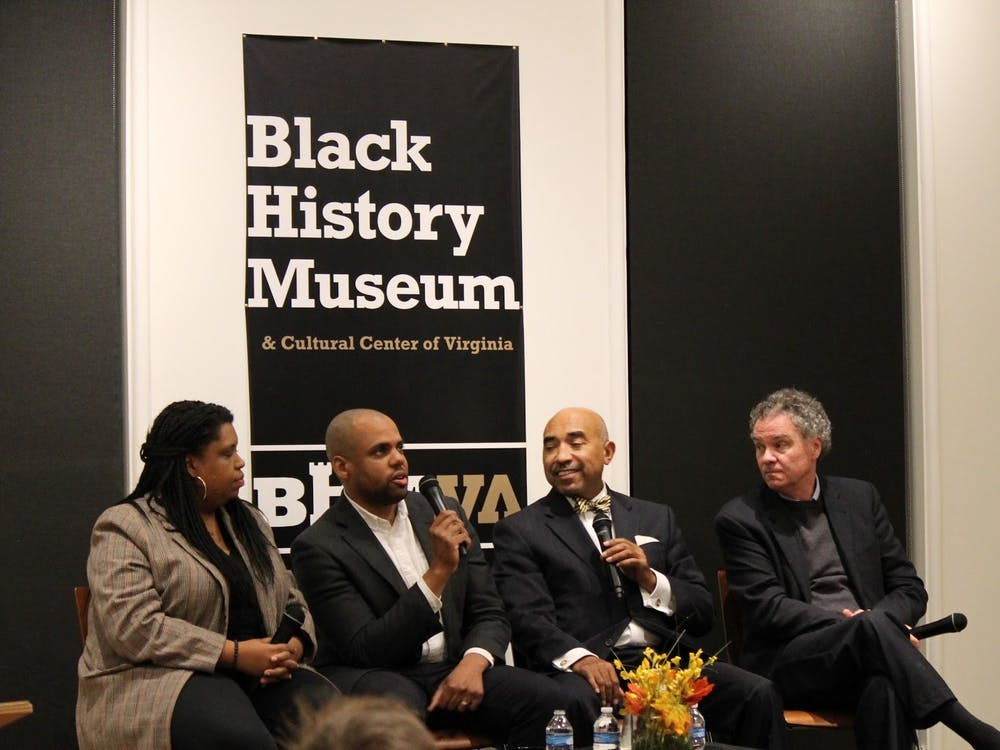 "Edward Ayers (far right) speaks at a screening of ""The Future of America's Past"" at the Black History Museum and Cultural Center of Virginia in Richmond, Virginia, on Nov. 20, 2019."