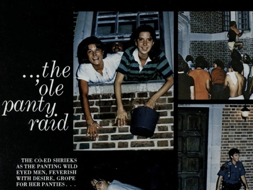 A 1979 University of Richmond yearbook entry depicts scenes from the annual panty raid. Source: The Web (1979): 12-13.