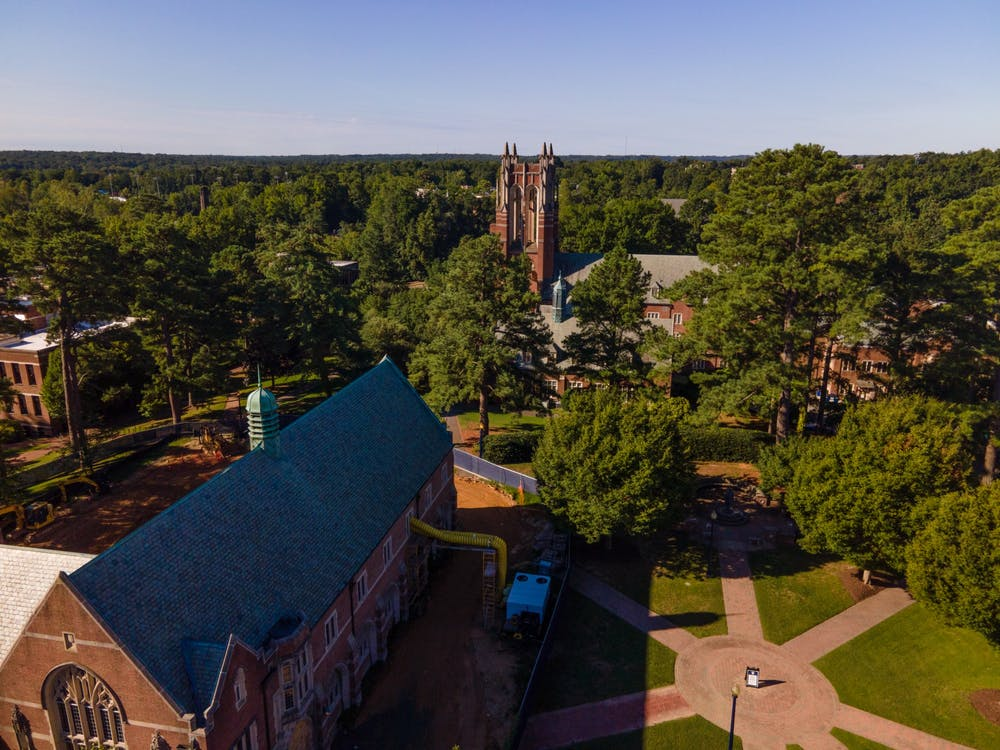 A view of Boatwright Memorial Library from behind Ryland Hall.