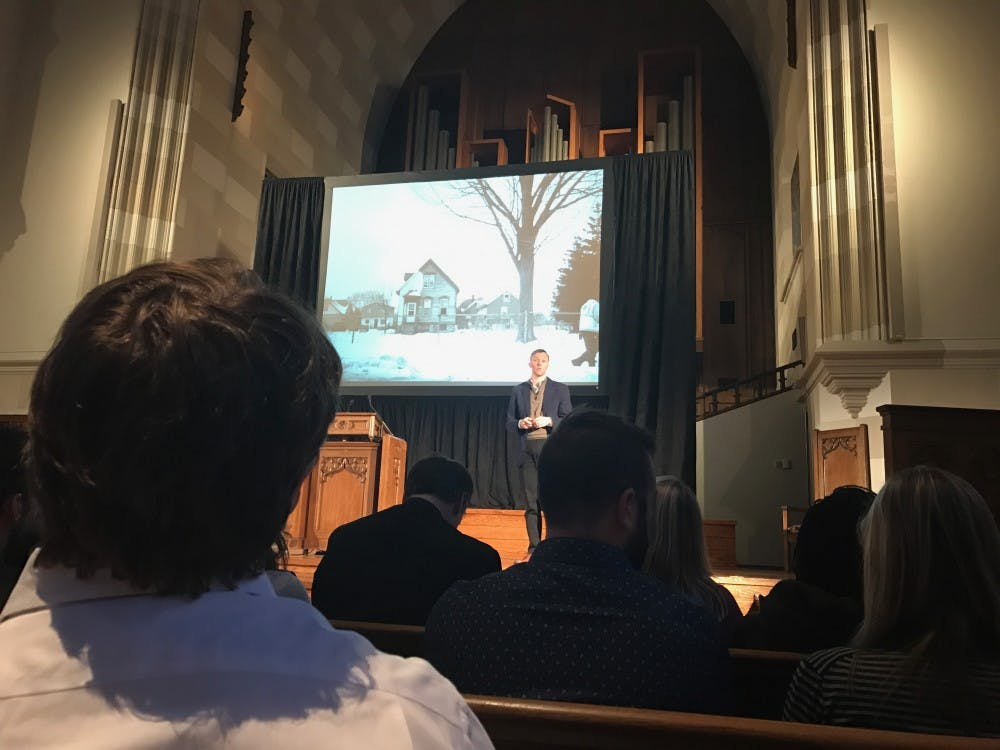 Matthew Desmond spoke to the university communityWednesdayabout evictions and poverty in the U.S.
