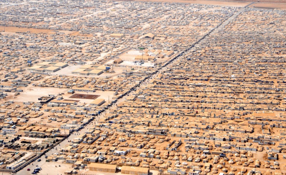 <p>An aerial view of the Za'atri Refugee Camp in Jordan. Approximately 81,000 refugees from the Syrian Civil War live in Za'atri.</p>