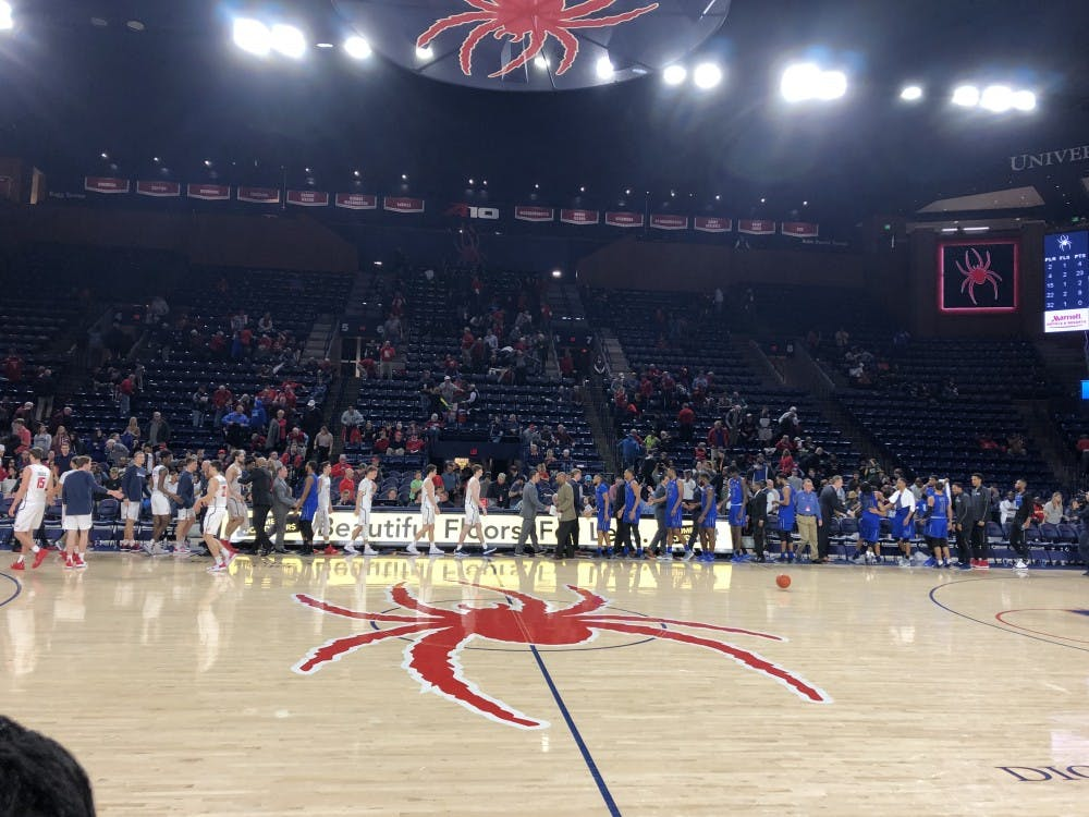 <p>The Spiders lost to Hampton University, 86-66, Sunday night at the Robins Center. The men's basketball record now stands at 2-4 on the season.</p>