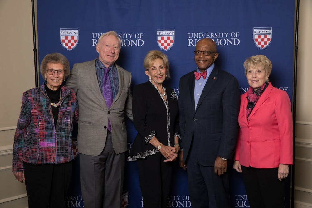 <p>Founding members of the University of Richmond's WILL* program stand with President Ronald A. Crutcher (fourth from left). <em>Photo courtesy of Holly Blake</em></p>