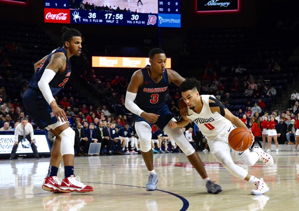 <p>Sophomore guard Jacob Gilyard drives to the basket against Duquesne. He scored 22 points in the Spiders' loss.</p>